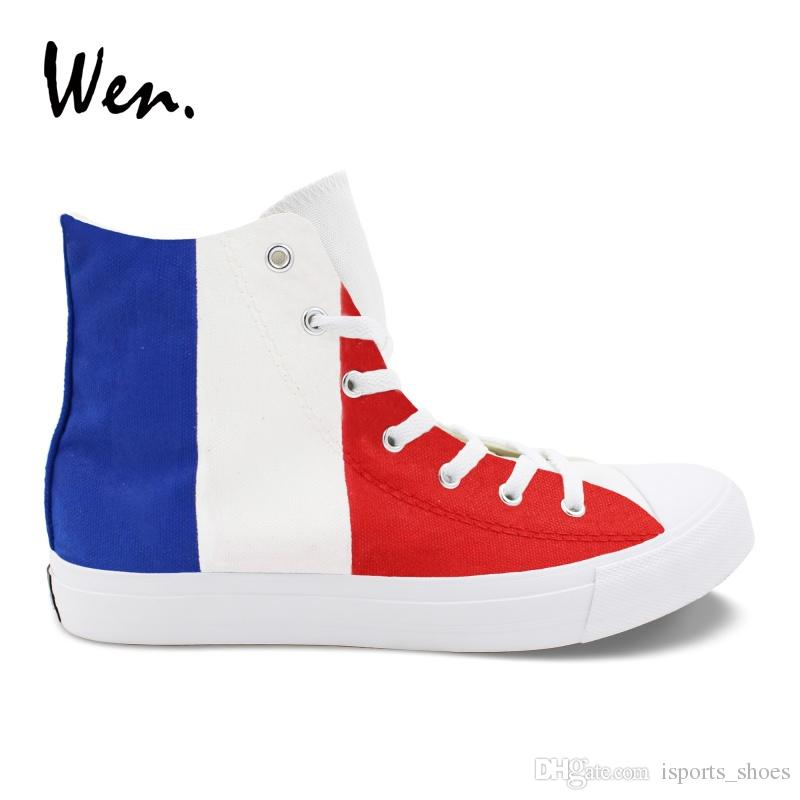 a66ff28241e3 Wen Colored Drawing Vulcanize Shoes France Flag Design Hand Painted Sneakers  Blue White Red Stripes Painting Canvas Casual Flat  343909 Mens Boat Shoes  Boat ...