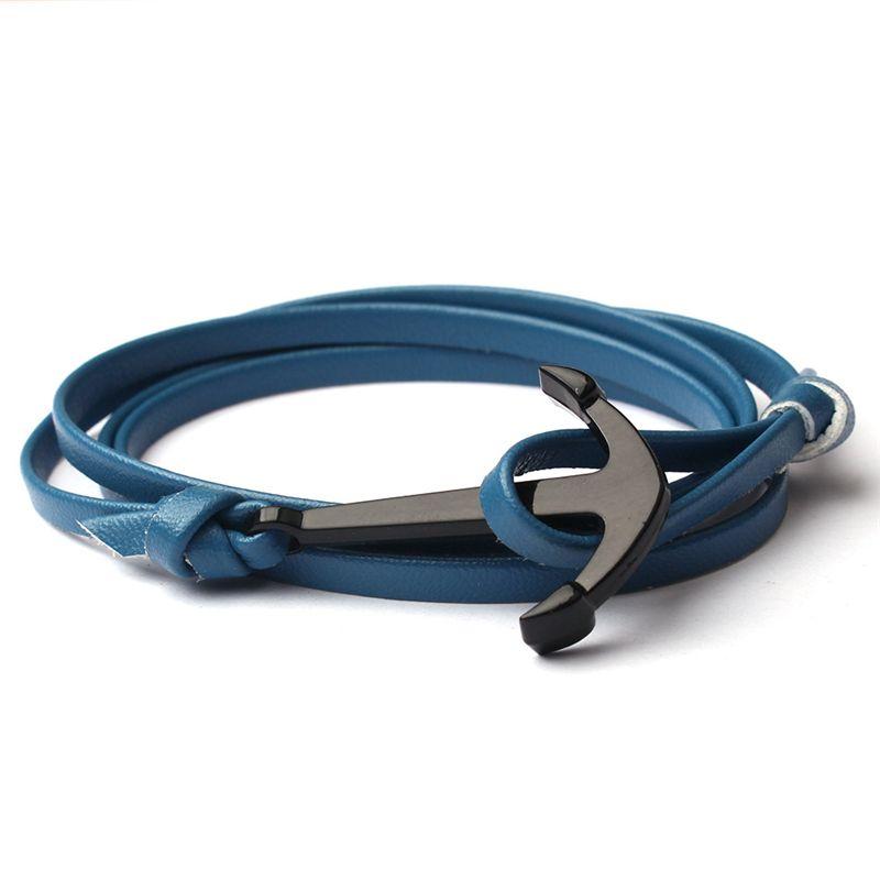 Black Anchor Multilayer Leathers Bracelets & Bangles Fashion Vintage Bracelet For Men Women Fashion Friendship Gift 6C0480