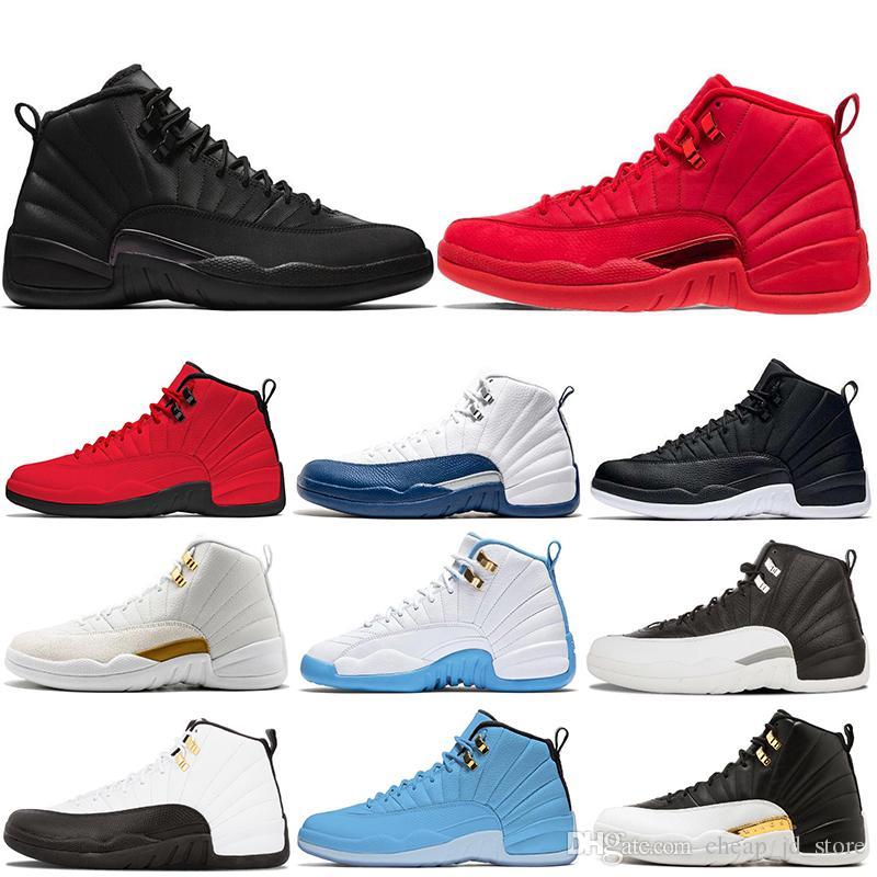 642f7e110c54 Acheter 12 12s Chaussures De Basketball Hommes Bulls Michigan College  Marine UNC NYC Gym Rouge Blé Gris Foncé Bordeaux Séries Éliminatoires Jeu  De La Grippe ...