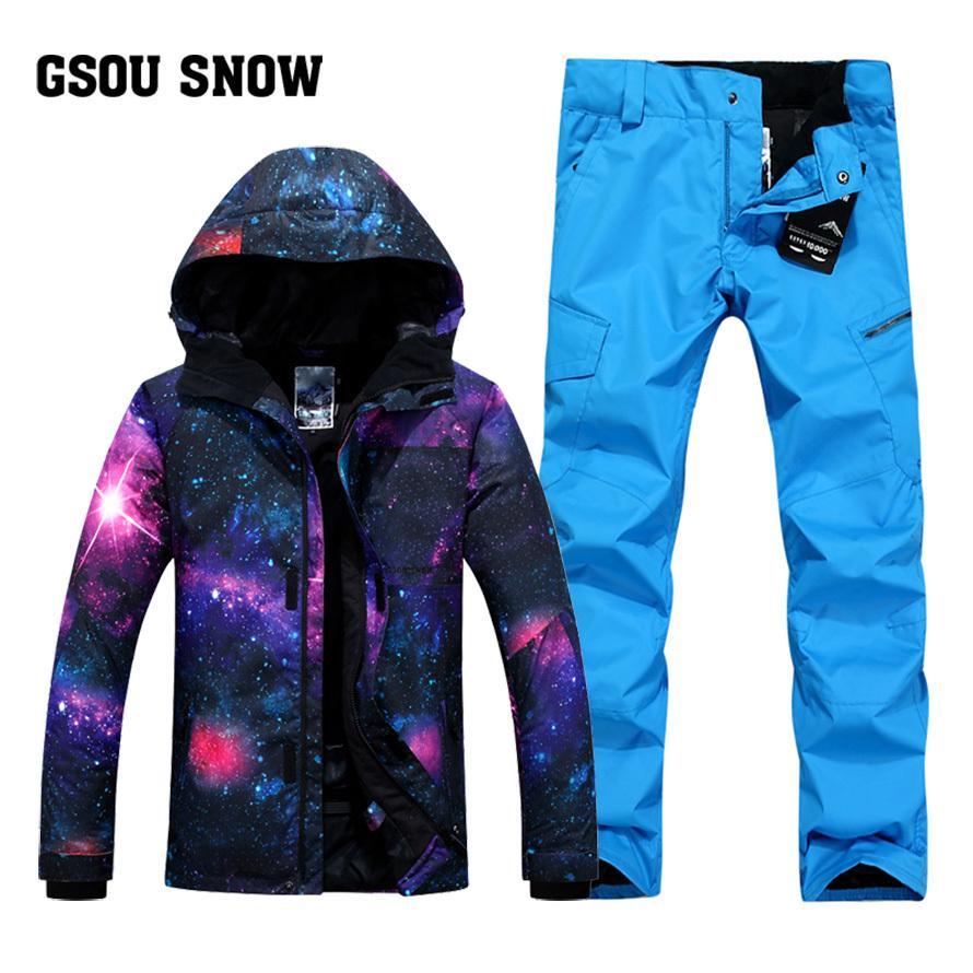b29a2996 GSOU SNOW Traje de esquí para hombre Pizarra individual doble engrosamiento  de invierno Chaqueta de esquí transpirable a prueba de viento ...
