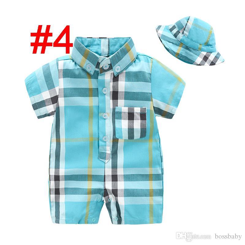 Baby Plaid Rompers Set Infant Baby Cotton Striped Jumpsuits Kids Lersure Boy Autumn Romper Suit Toddler Boy Pocket Onesies With Hat 06