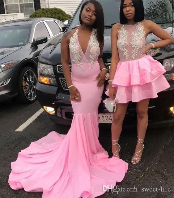 2020 Pink Sexy African Applique Mermaid Prom Dresses Formal Party Trumpet Special Occasion Evening Dress Plus Size Formal Party Gown