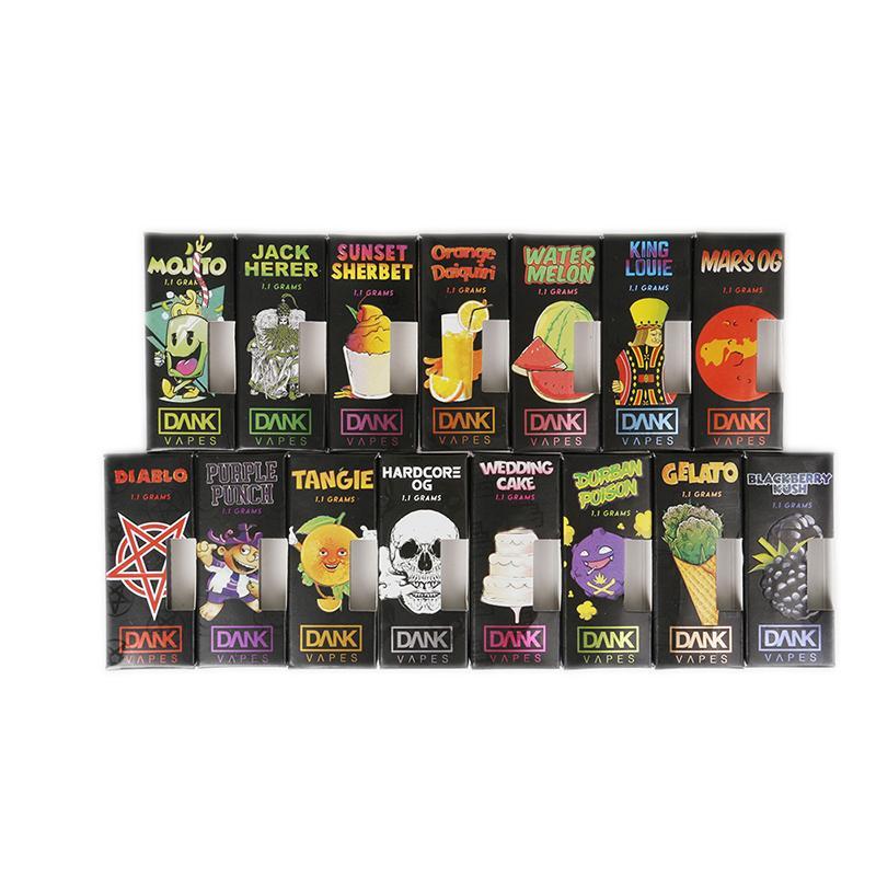 Dank Vapes Cartridge New Black Pack 1 0ml 1 Gram Ceramic Coil Vape Carts  for Thick Oil Cartridges Packing 43 Flavor Stickers DHL