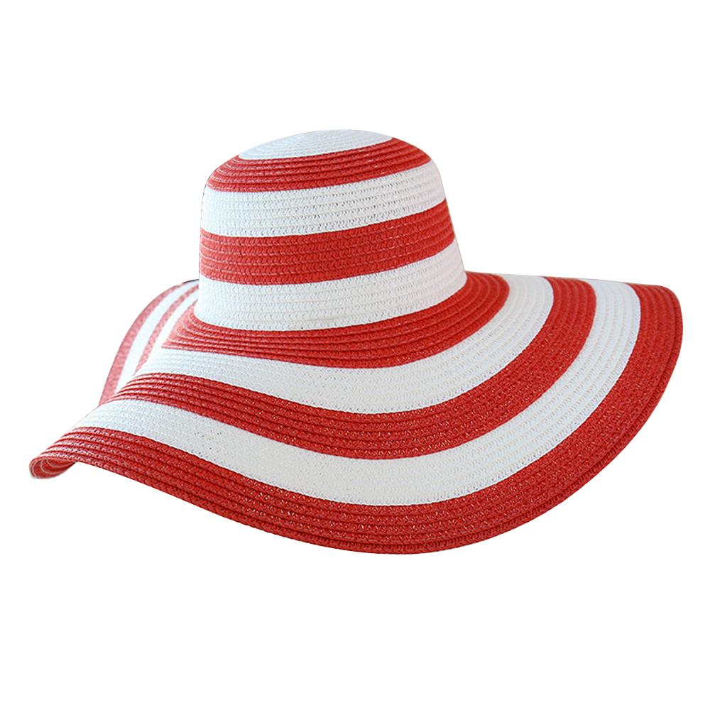 8c4f9901 Striped Sun Protection Caps Outdoor Sunhats Women Straw Hat Summer ...