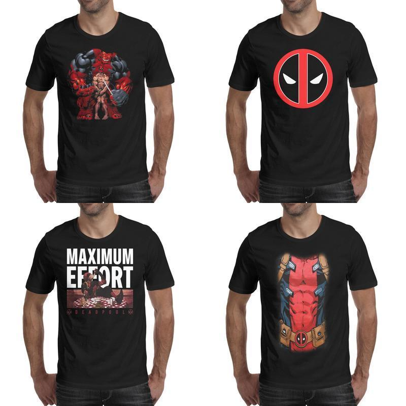 Mens impression Deadpool Holding par le t-shirt noir rouge Hulk Slogan de conception Amis Chemises Logo de la fête Vecteur marvel Effort maximum Marvel