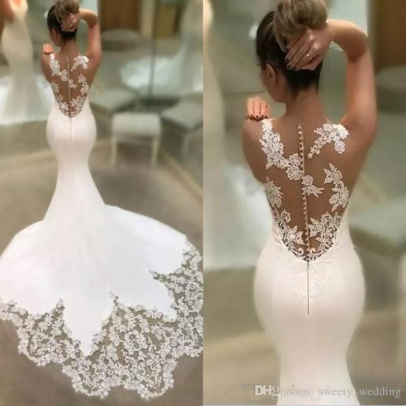 Gorgeous 2019 Sexy Illusion Back Lace Appliqued Mermaid Weddng Dresses Modest V Neck Chiffon Trumpet Train Bridal Gowns Custom Made