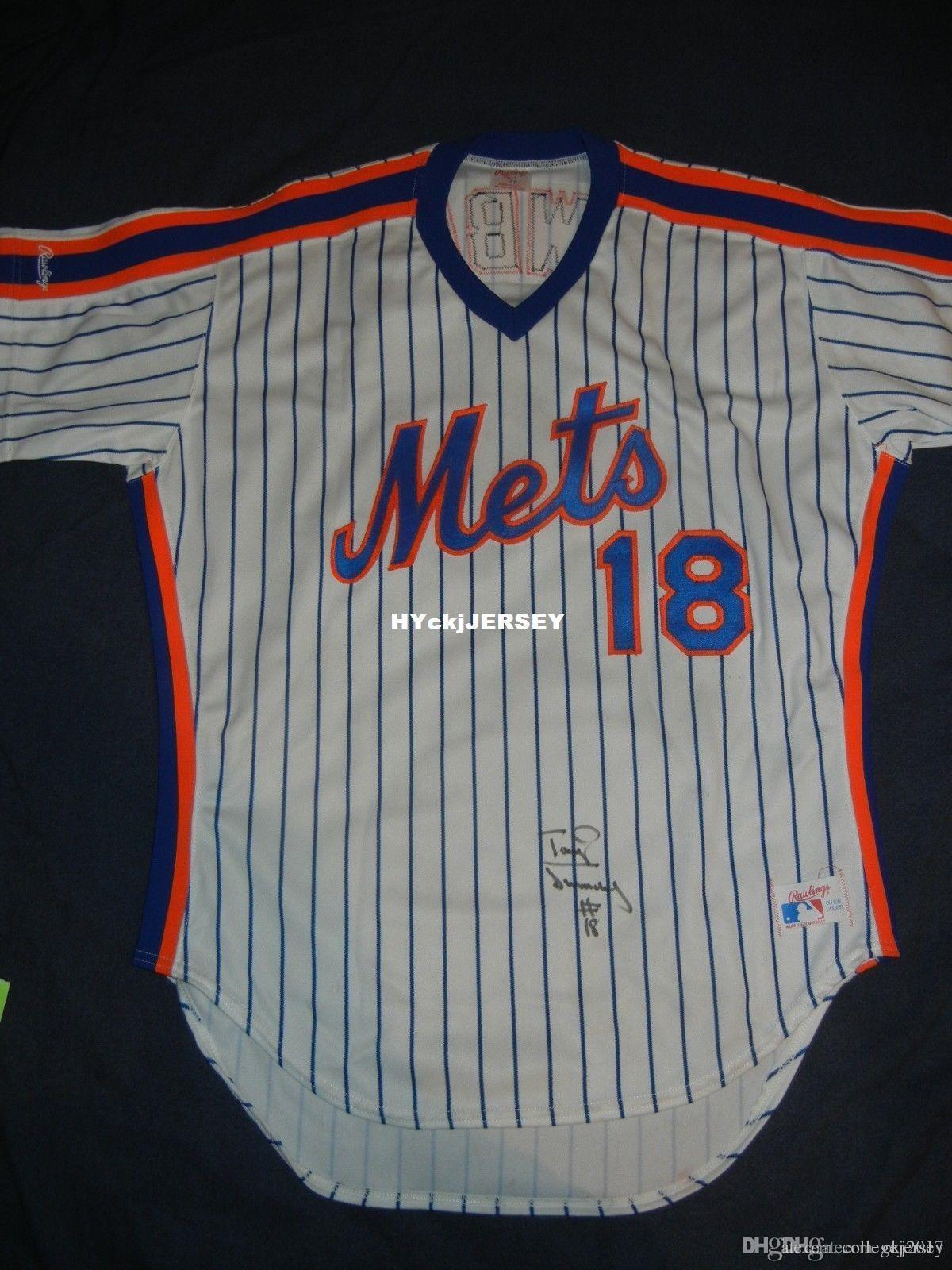 Cheap Rawlings Retro # 18 Darryl Strawberry NEW YORK NY Jersey 46 Autograph COA de 1986 camisola Mens costurado beisebol Assinado