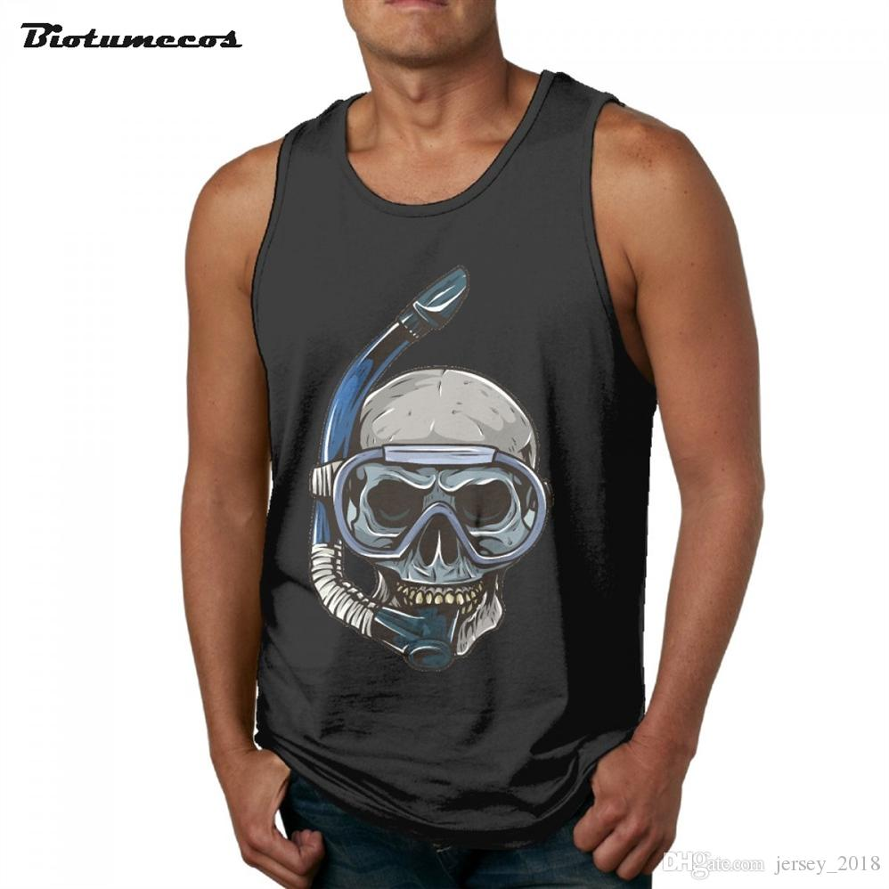 1a4183dbf079a 2019 Newest Fitness Men Tank Top Fashion Brand Sleeveless Undershirts  Wearing A Snorkel Skull Printed Casual Summer Vest MBK067  158302 From  Jersey 2018