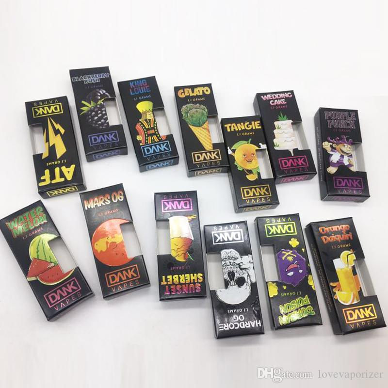 Dank Vape Cartridge black Package 510 Thread Cartridges Ceramic Coil Empty  Vape Pen Vaporizer 1 0ml Glass Tank M6T Thick Oil Atomizer DHL fr