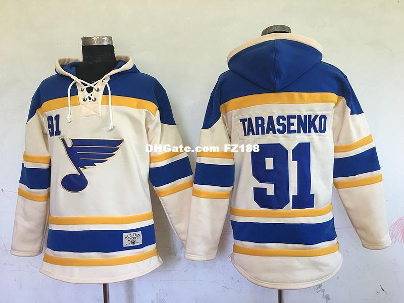 Hot Sale Mens St. Louis Blues 91 Vladimir Tarasenko Blue Beige Best Quality Cheap Full Embroidery Logos Ice Hockey Hoodies