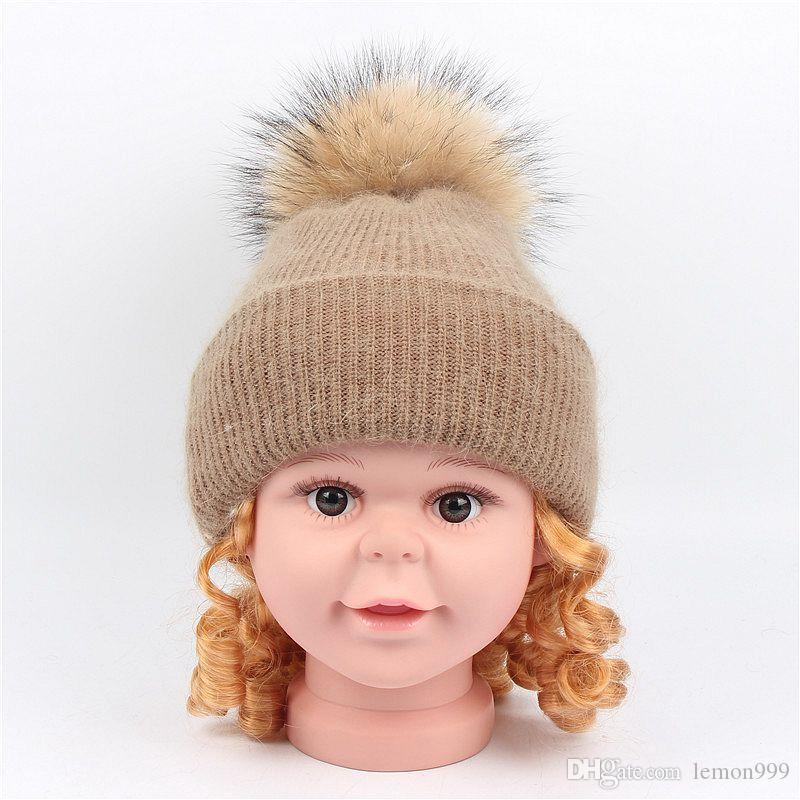 21bcafdcafa Winter Kids Beanies Hats Baby Boys Girls Knitted Hat With Real Raccoon Fur  Pompom Ball Caps Children Hats Pom Beanie Cap Warm Beanie Mens Hats Straw  Hat ...