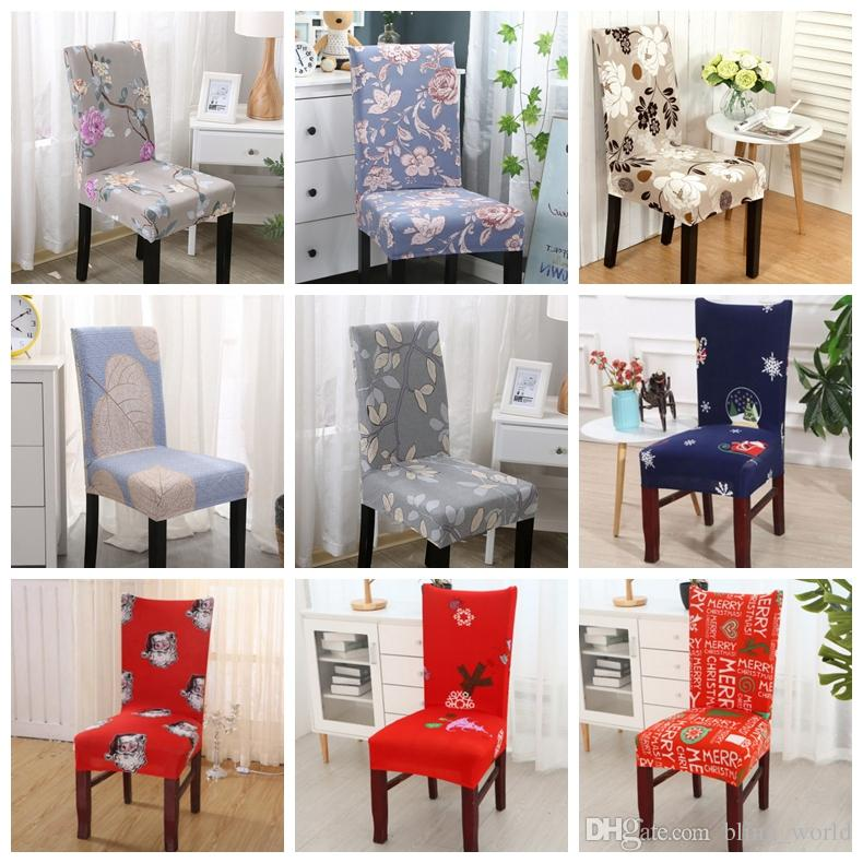 Spandex Chair Covers Removable Chair Cover Stretch Dining Seat Covers Elastic Slipcover Christmas Banquet Wedding Decor 40 Designs YW1820