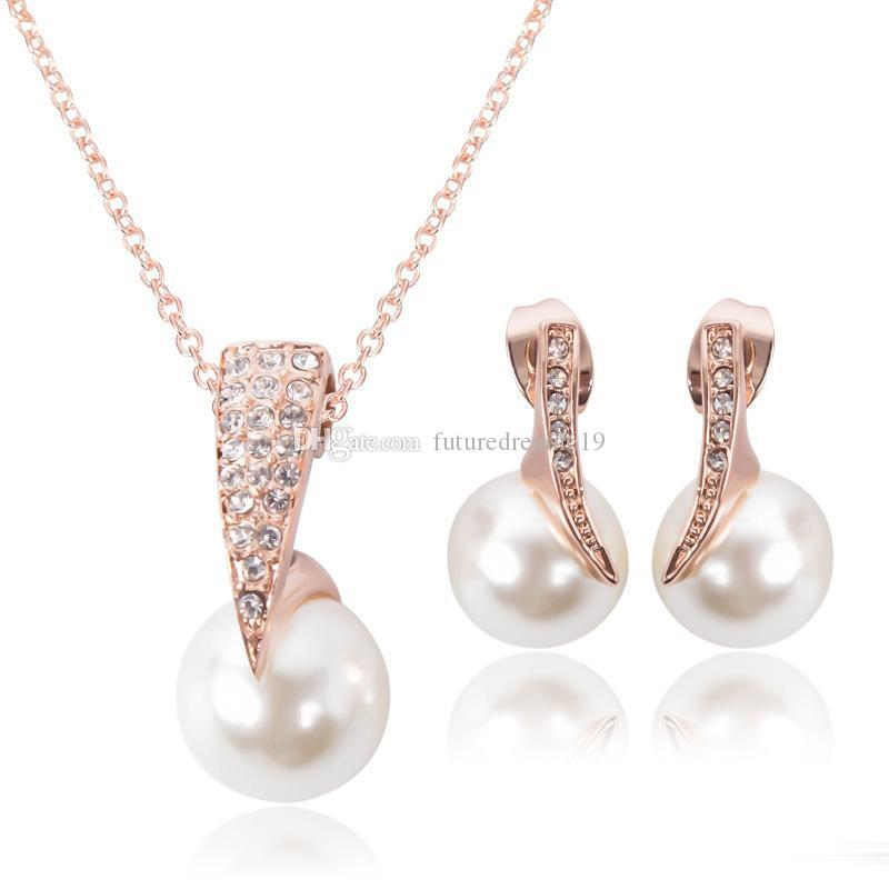 Fashion Wedding Jewelry Set For women Crystal Big Faux Simulated Pearl Pendant Drop Earrings bride Engagement Jewelry Gift