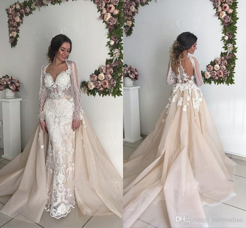 Beautiful Long Sleeve Lace Wedding Dresses 2019 Mermaid Sweetheart Appliques Backless with Overskirt Long Bridal Gowns On Sale