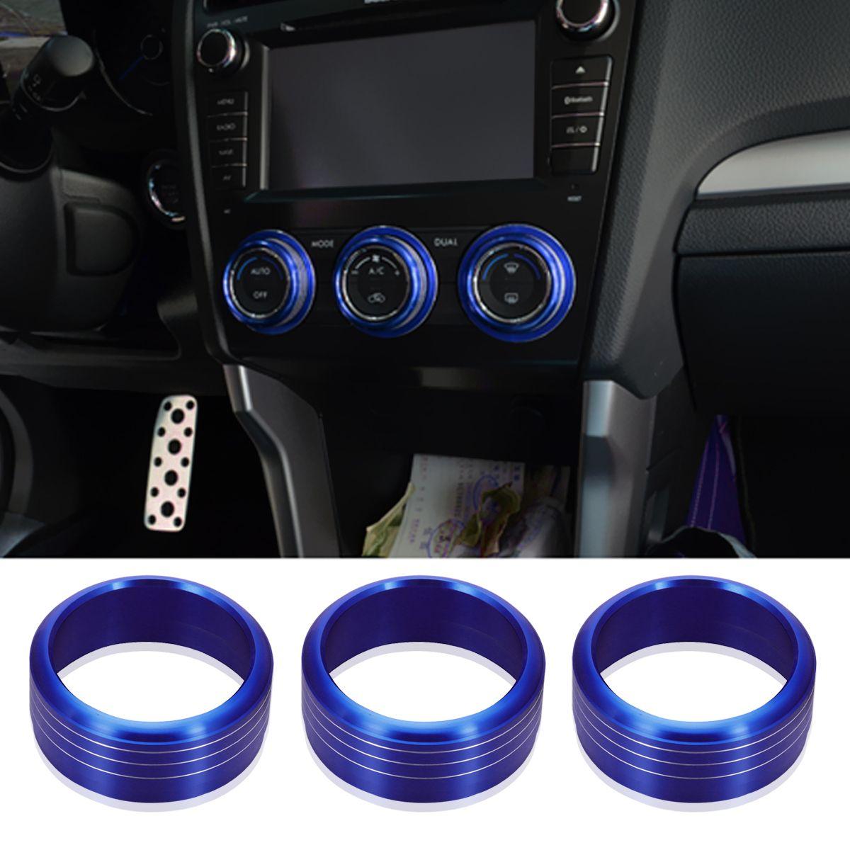 3pcs AC Climate Control Knob Ring Covers Protector Stickers For Subaru WRX STI Impreza Forester XV Car Decoration Accessories