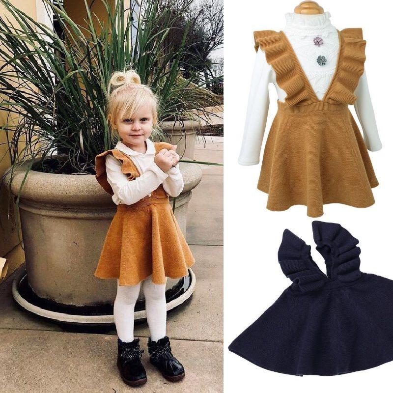 6c6ec47e244 2019 Factory Price Girls Sweater Dress Kids Clothing Fall Autumn Winter  Dress Fashion Sleeveless Princess Suspender Skirt Dress From Babyandmom
