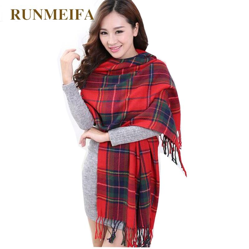 più recente 83a5d 20dcd [RUNMEIFA] Sciarpa di lana moda donna Spagna Sciarpa plaid di spessore  grandi donne ordito sciarpe scialle per donna