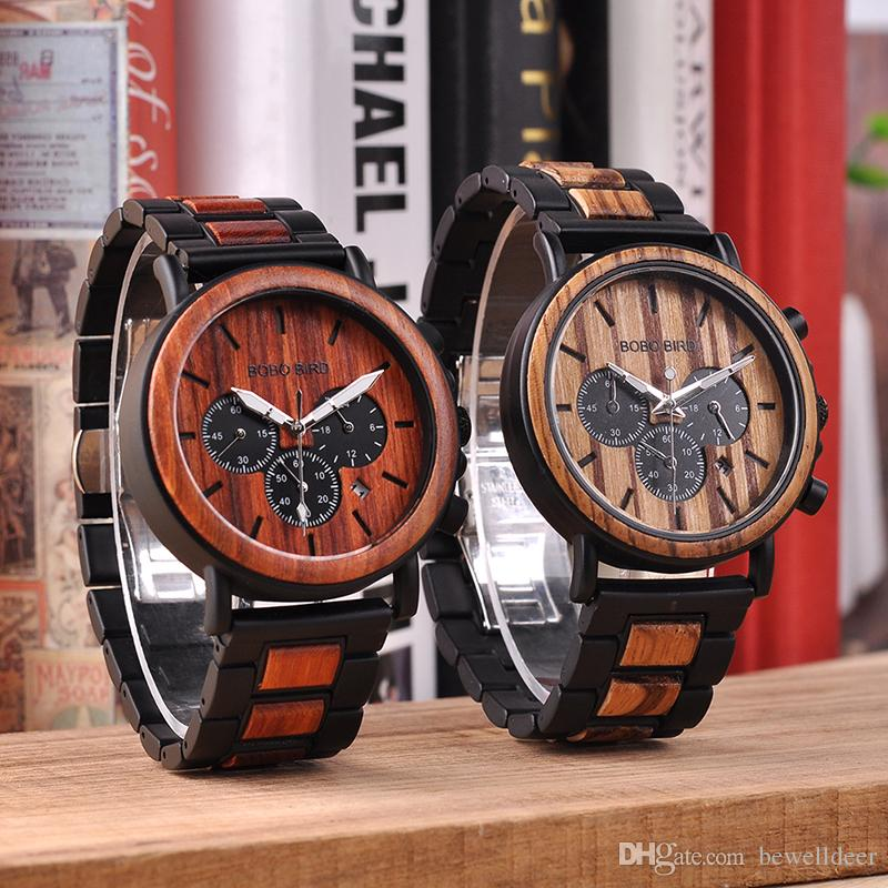 dd06d2367 BOBO BIRD Wooden Men Watches Relogio Masculino Top Brand Luxury Stylish  Chronograph Military Watch A Great Gift For Male OEM Calendar Watch Watches  On Sale ...