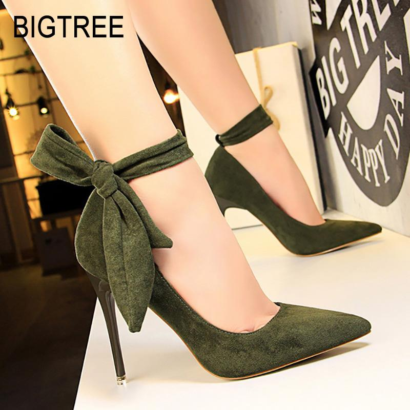 77b7ce4e469 2019 BIGTREE Shoes Women High Heels Classic Pumps Women Shoes Suede Wedding  Spring Ankle Strap Stiletto Party From Ajshoesfactory