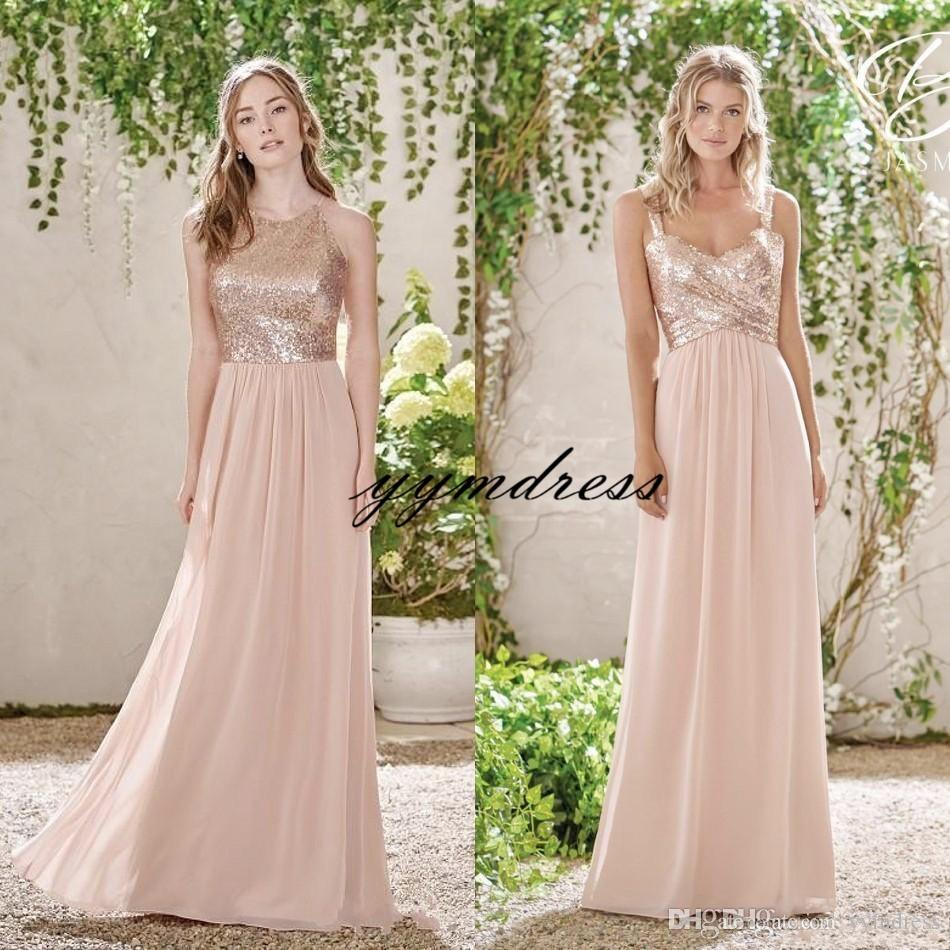 2019 Rose Gold Sequins Top Long Chiffon Beach Bridesmaid Dresses Halter Backless A Line Straps Ruffles Blush Pink Maid Of Honor Gowns