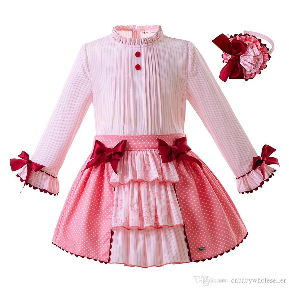 06912f09c Pettigirl Latest Pink Baby Girls Clothing Sets With Bows Long Sleeve ...