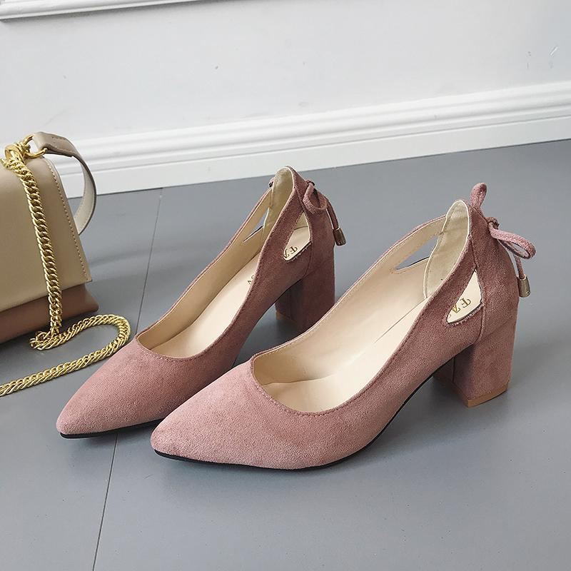 150fde39160a5 Dress Shoes 2019 Fashion Women Pumps Block High Heels Ladies Pointed Toe  Suede Shallow Wedding Black Pink Khaki Large Size 35 44 Italian Shoes  Summer Shoes ...