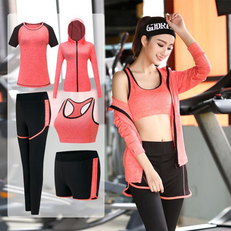 5c5a48acb2ba 2019 Yoga Set Sport Jacket+Tights Pants+Short+Yoga Shirt+Sports Bras 5  Pieces Running Sportswear Tracksuit Fitness Gym Clothing