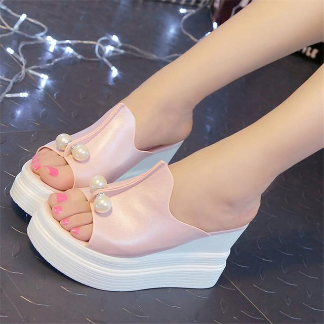 3d3f1e8a5e8457 Women Summer Sandals Thick Heel Platform Wedges Sandals Sexy Beading  Slippers Sandalias Slides White Black High Shoes Heel 9 Cm Shoes Uk Flat  Sandals From ...