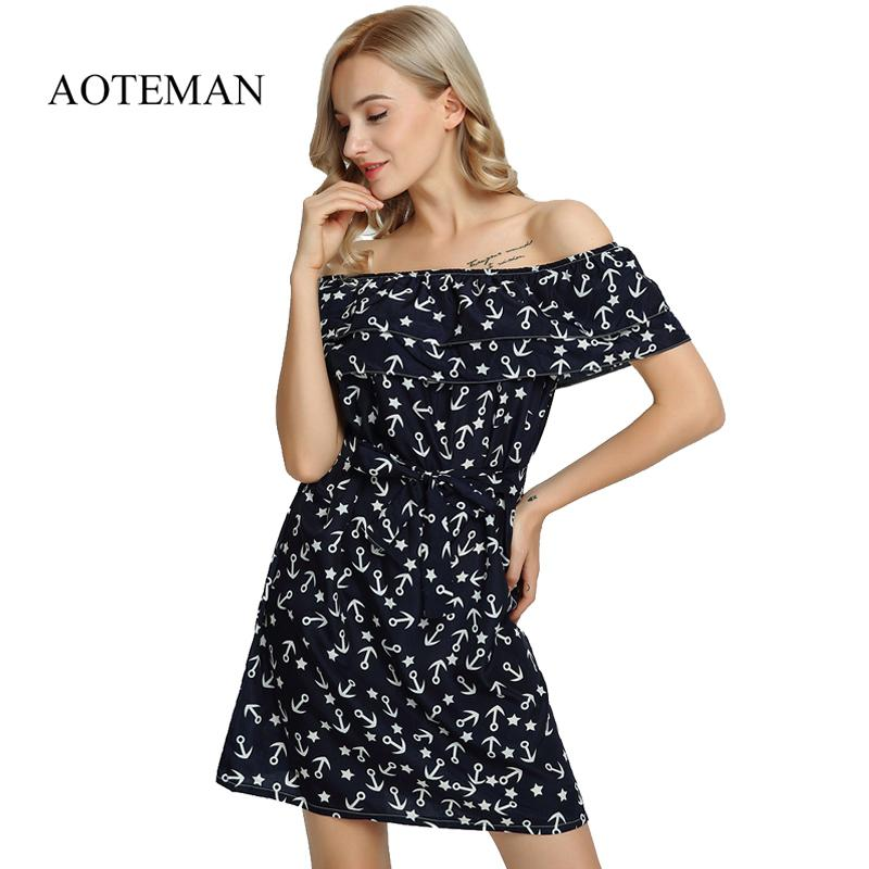 5fadd8736 Compre Aoteman Vestido De Verano De Las Mujeres De Moda Sexy Hombro  Imprimir Vestido Femenino Dulce Elegante Corto Mini Playa Vestidos De  Fiesta Vestidos ...