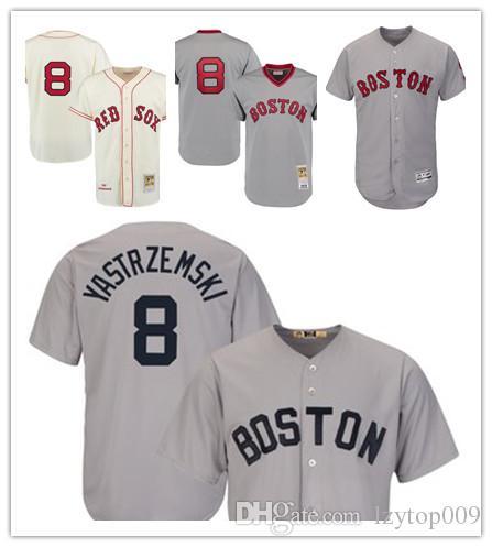 newest dd6dd d1031 Men s 1975 Red Sox 8 Carl Yastrzemski Mitchell & Ness Gray Authentic  Throwback Boston Jersey