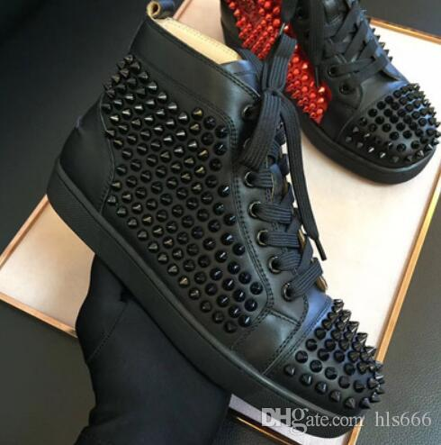 Name Brand Classic Red Bottom Men Spiked Sneaker Shoe Black White Leather Men Casual Fashion Rivets Shoes High Top Dress Party Sneakers With