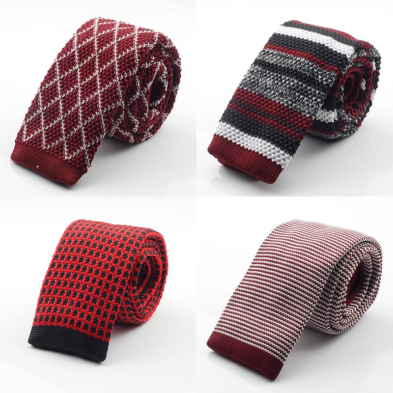 GUSLESON New Fashion Male  Slim Designer Mens Knitted Neck Ties Cravate Narrow Skinny Neckties For Men