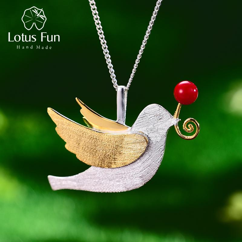 Lotus Fun Real 925 Sterling Silver Handmade Fine Jewelry Creative Flying Pigeon With Fruits Pendant Without Necklace For Women J190718