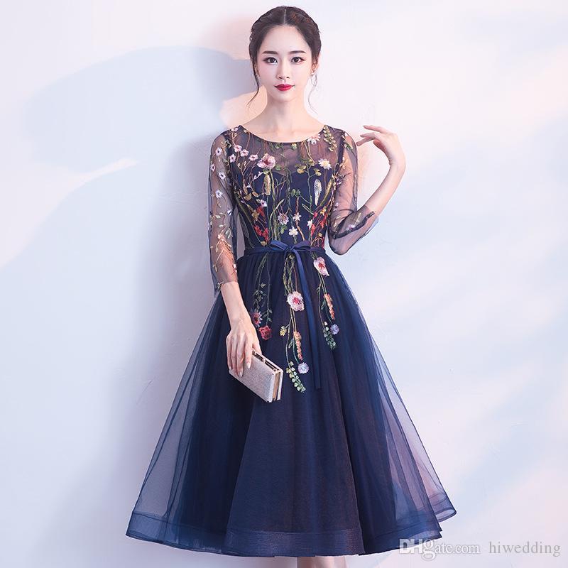 Vestidos de fiesta encaje azul