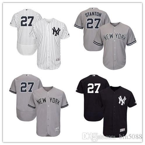 095ea0cc8 Custom Mens Women Youth Yankees Jersey # 27 Giancarlo Stanton Navy ...