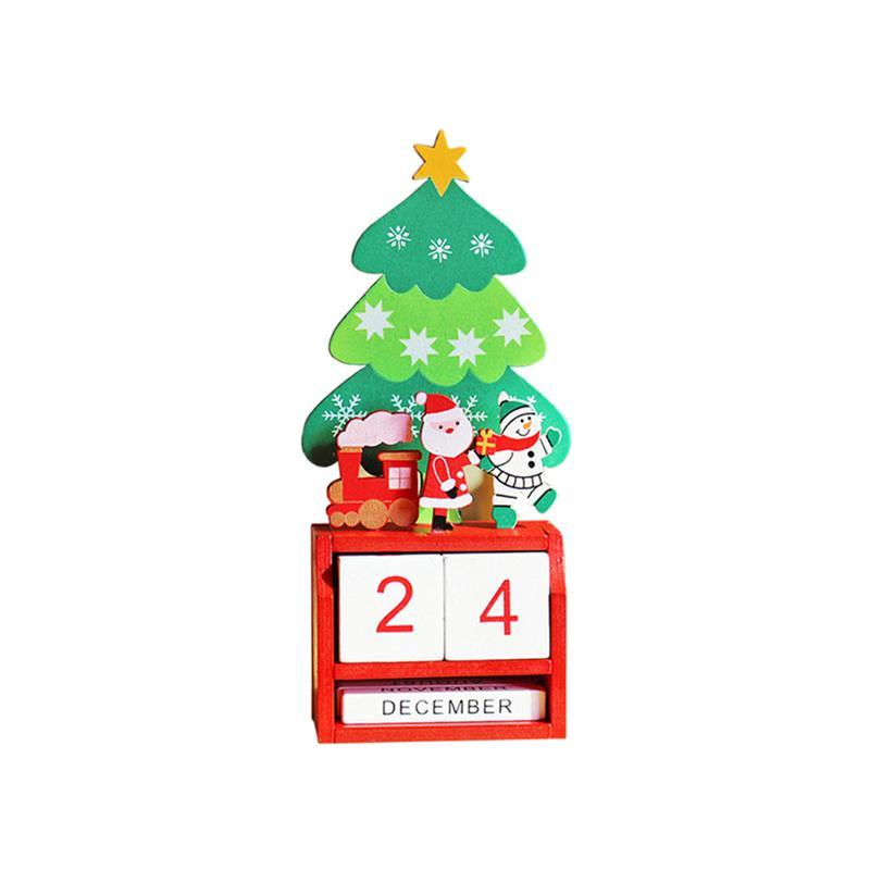 1 Pc Christmas Themed Calendar Cute Santa Claus Reusable Cartoon Wooden Calendars Diy Desktop Decor For New Year Home Office