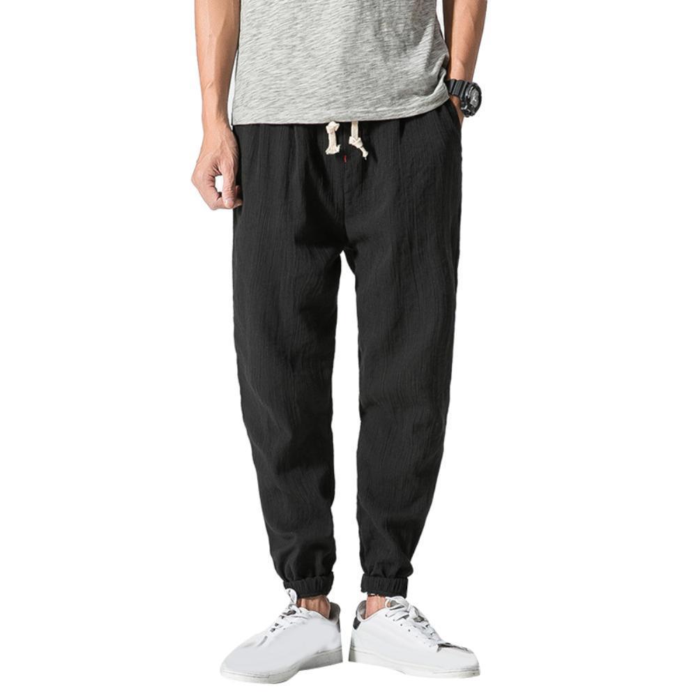 online store b94f1 d892c Pantaloni di lino in cotone con coulisse in tinta unita