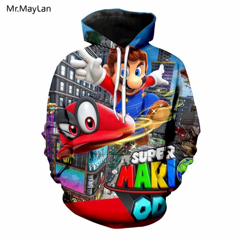 7cc8aa47e Compre Harajuku Clássico Dos Desenhos Animados Super Mario Bros Jaquetas De  Impressão 3D Mulheres   Homens Kawaii Streetwear Bonito Moletom Com Capuz  ...