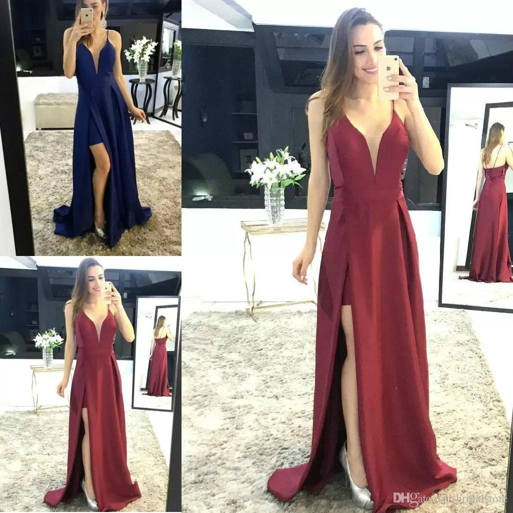 d948a5a04bd 2019 Elegant V Neck Wine Red A Line Prom Dresses Zipper Back Side Split  Satin Evening Prom Gowns Vestidos De Festa Party Dresses China Modern Prom  Dresses ...