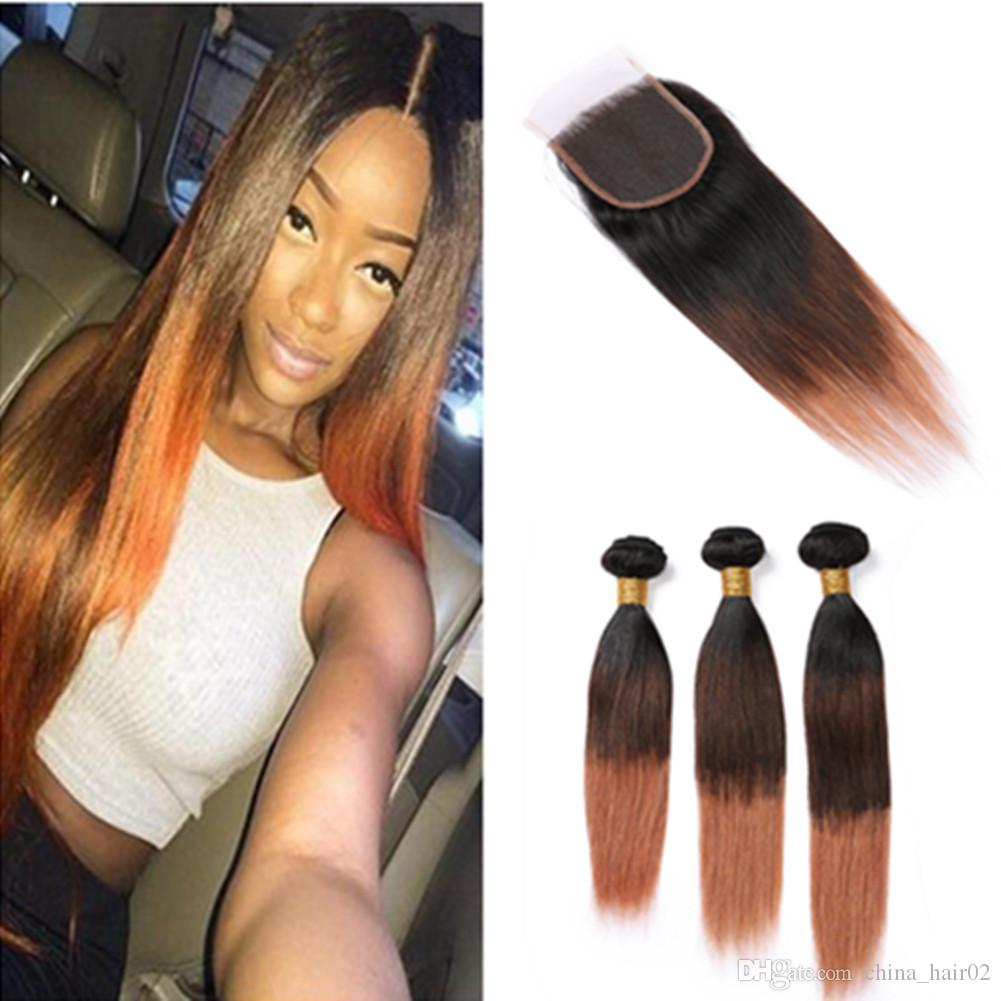 #1B 4 30 Ombre Human Hair Bundles and Closure Straight Hair Extensions Dark Root 3Tone Ombre Brazilian Virgin Hair Weaves with Lace Closure