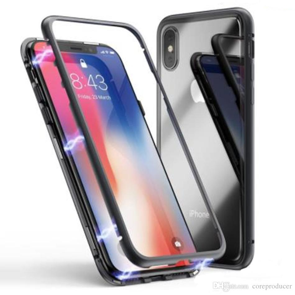 04230c08487 Magnetic Adsorption Metal Flip Tempered Glass Case Luxury Slim Shockproof  Clear Back Cover For IPhone XS Max XR X 8 7 6 Plus Uncommon Cell Phone Cases  ...