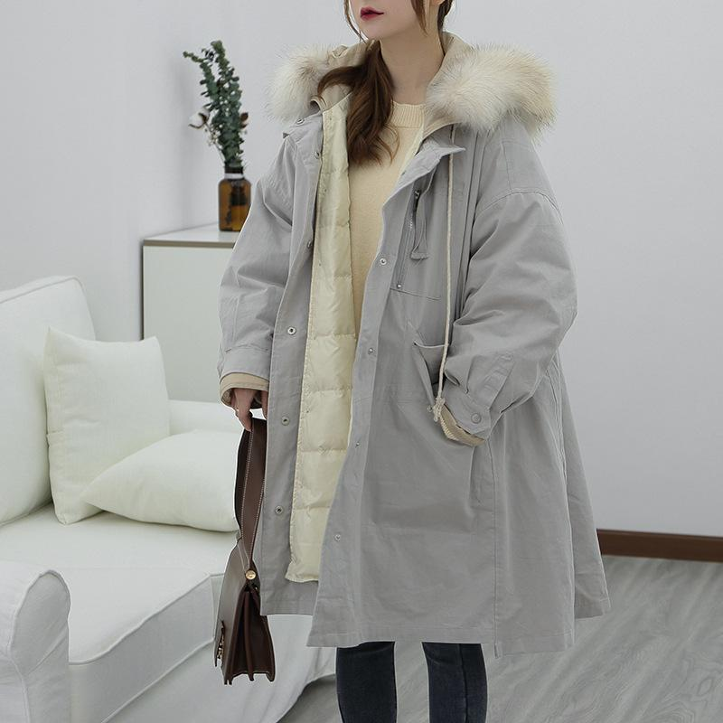 2019 2019 Luxury Long Goose European Down Coat Parkas Woman Winter