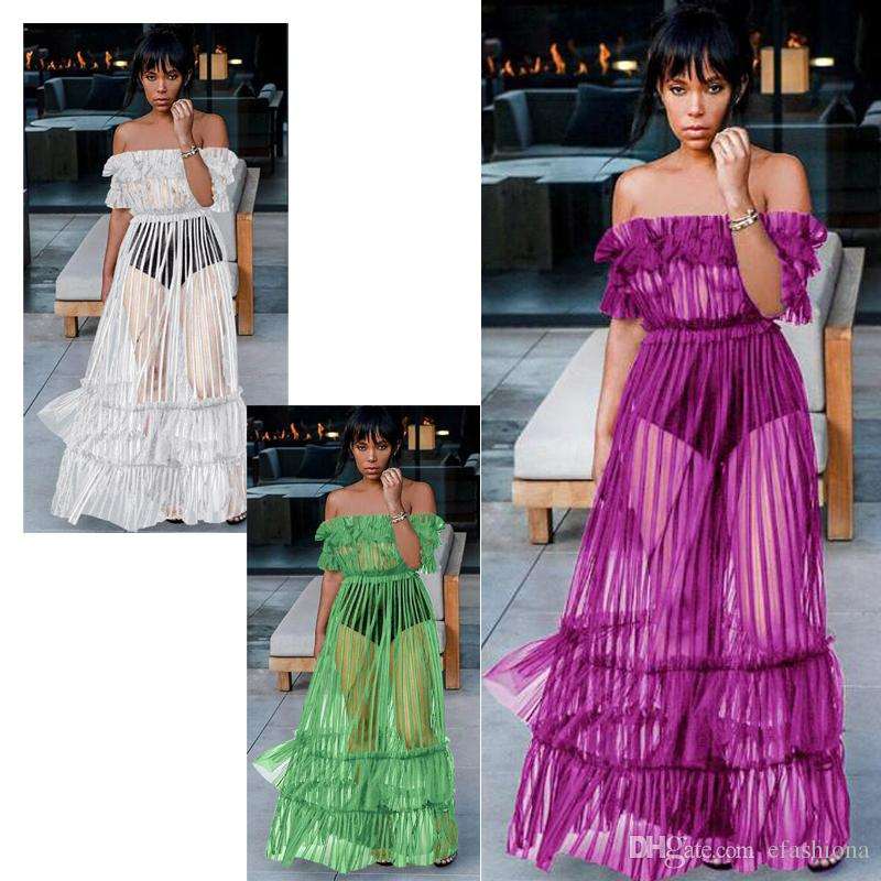 Womens Revealing Dresses Shoulder Less Beach Summer Beach Dresses Lady  Tulle Women Night Club Sexy Clothes Casual Dresses XZ028 Plus Size Evening  Dresses ...