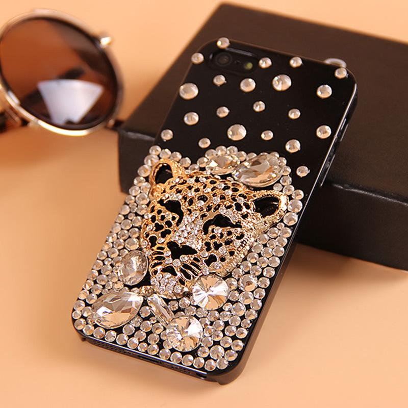 Fashion Phone Case for IphoneXSMAX IphoneXR XS 7/8Plus 7/8 6/6sP 6/6s Samsung S9P S8p S9 S8 Note9 with Rhinestone Tiger Style Hard Case