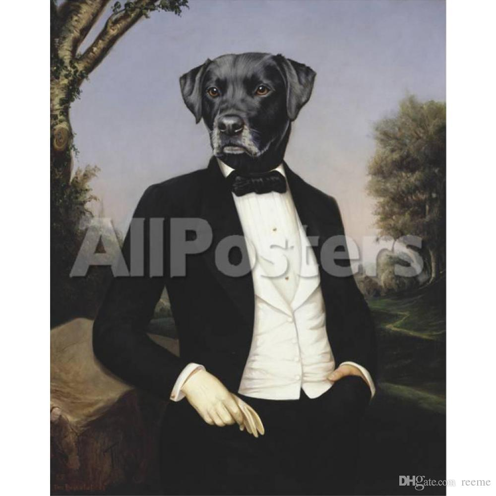 Portrait dogs painting Le Baron Thierry Poncelet oil paintings canvas Hand painted wall decor
