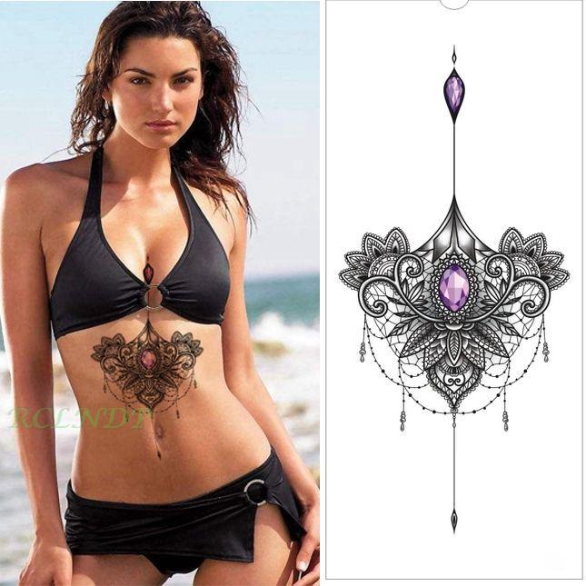 Waterproof Temporary Tattoo Sticker Leaf Henna Sexy Flash Tatto Big Size Fake Tatoo Body Art Breast Chest Waist for women girl