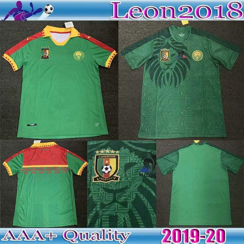 reputable site 9fff4 d84db Top Qualität 2019 2020 Kamerun Fußball Trikot 19 20 ETOO ABOUBAKAR Home  Green Trikots Hemden