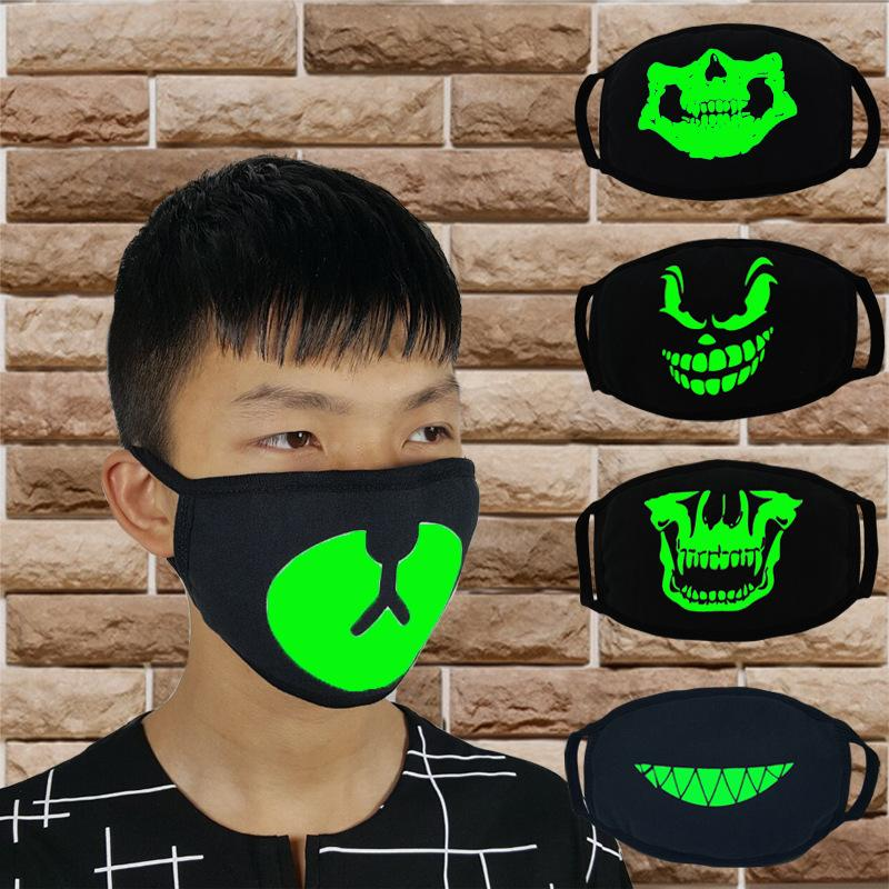 Black Luminous Face Mask Skeleton Riding Couple Anti Dust Fashion Personality Teeth Glow Mouth Mask dark in night halloween cosplay
