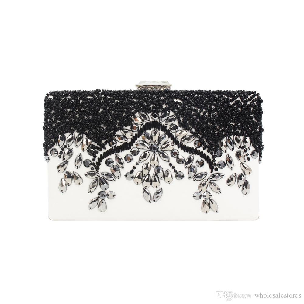 exquisite embroidery evening bags silver rhinestone black bead PU leather clutch bags for woman lady girl female