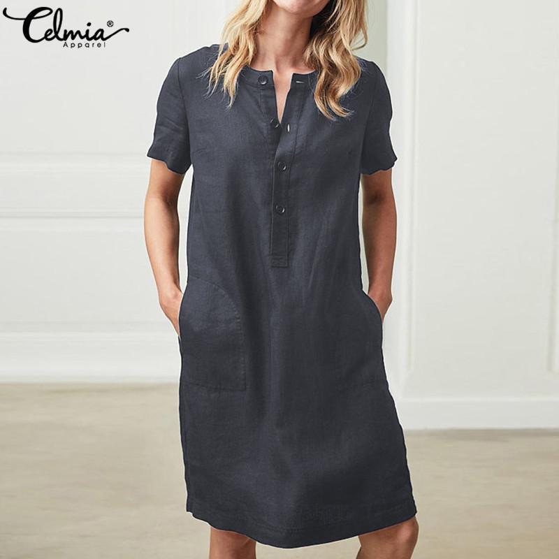 51169c66f77 Plus Size Women Linen Shirt Dresses 2019 Celmia Summer Mini Dress Vintage  Cotton Short Sleeve Vestido Robe Femme Beach Sundress Y19021407 Dresses  Summer ...